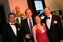 On the Red Carpet Board Member Andrew Darbyshire, Ambassador Dr Alan Finkel AM, Patron Hugh Morgan AC, with Founder Tania de Jong and Sam Starr Golden Hollywood Statue in background